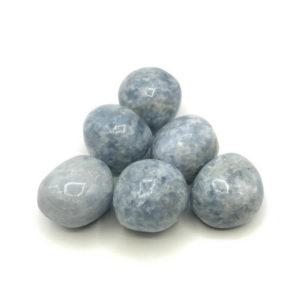Blaue Calcit-Trommelsteine